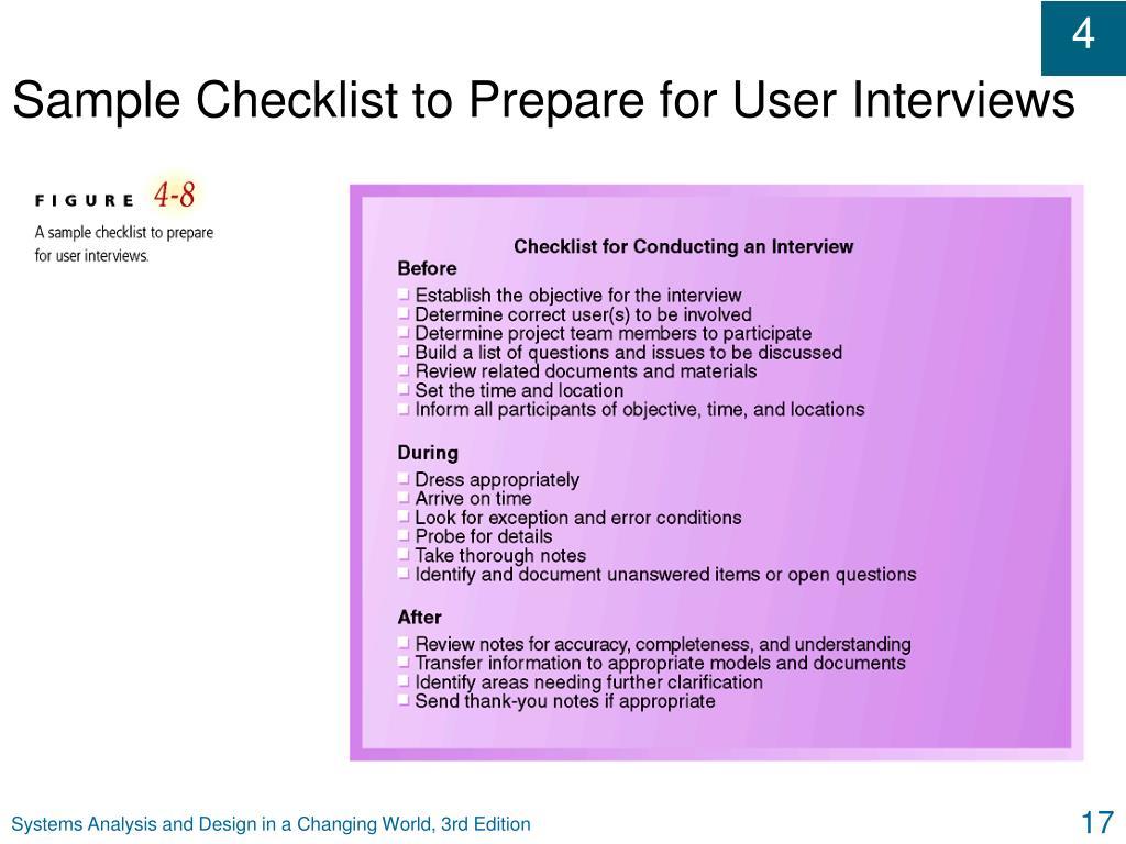 Sample Checklist to Prepare for User Interviews
