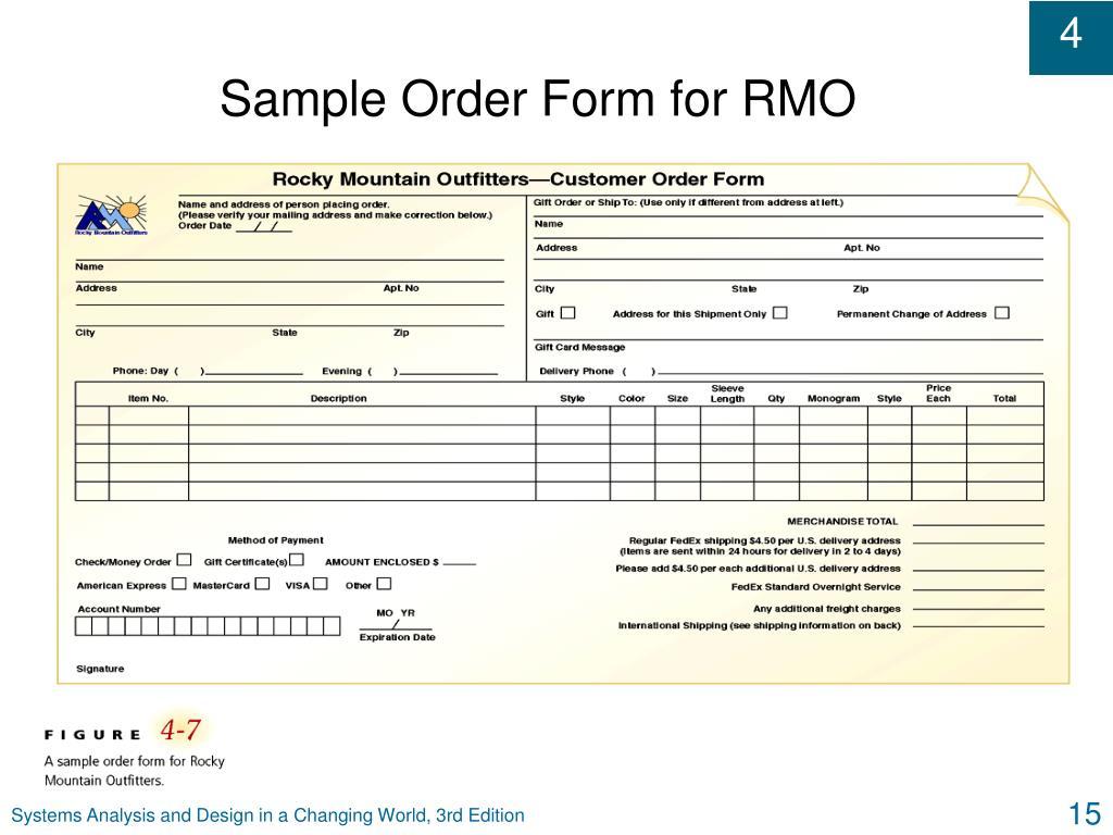 Sample Order Form for RMO