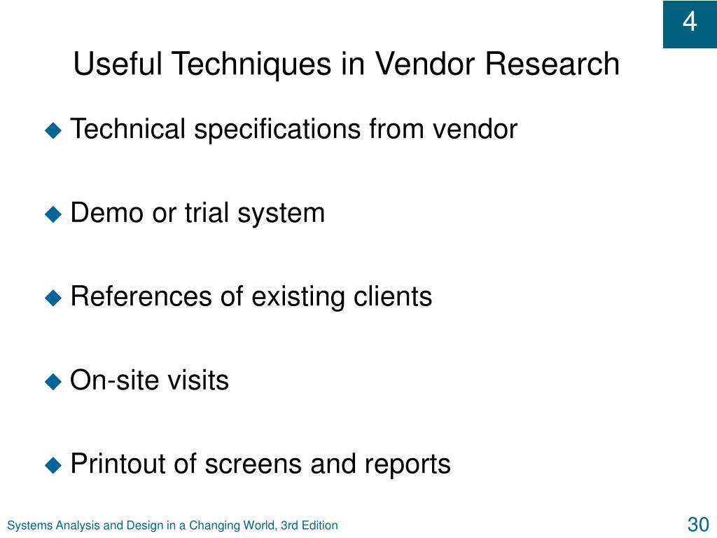 Useful Techniques in Vendor Research