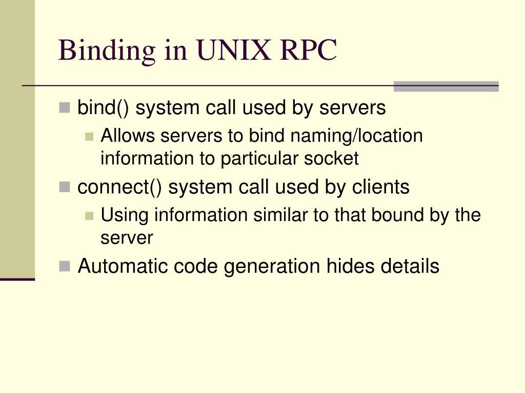 Binding in UNIX RPC