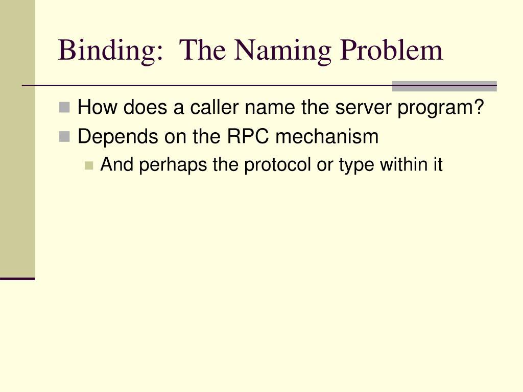 Binding:  The Naming Problem