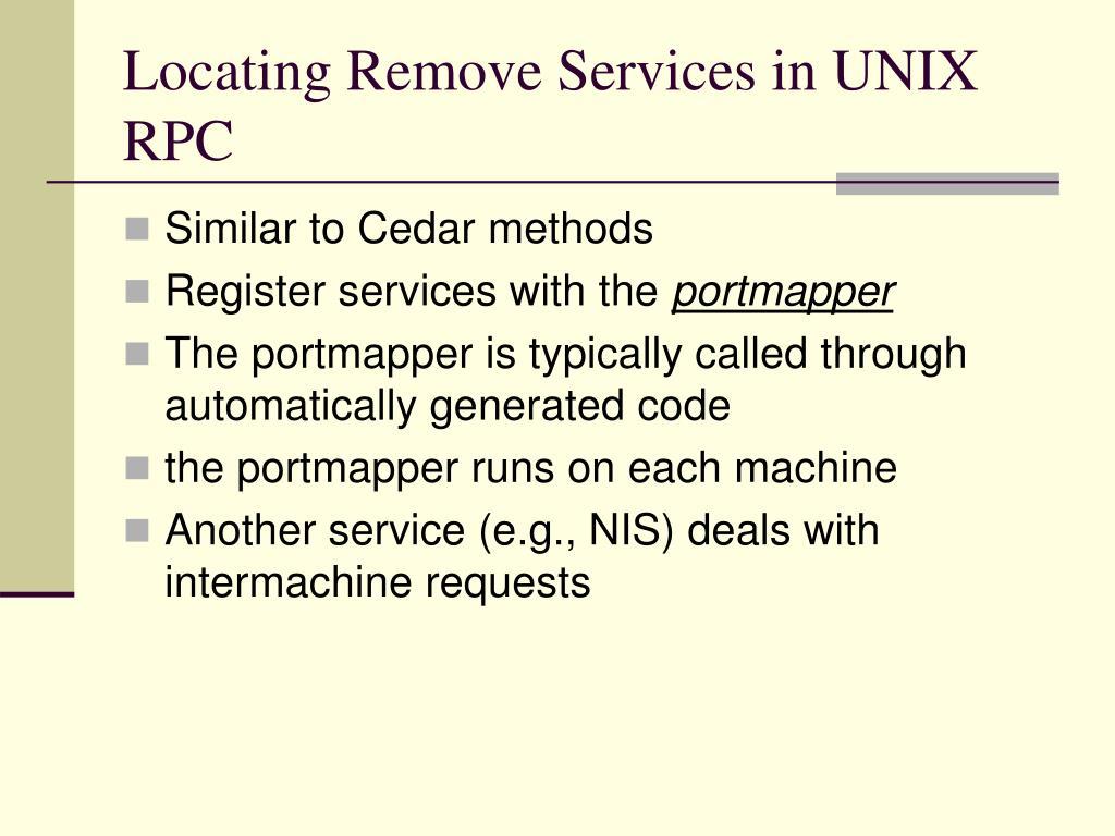Locating Remove Services in UNIX RPC