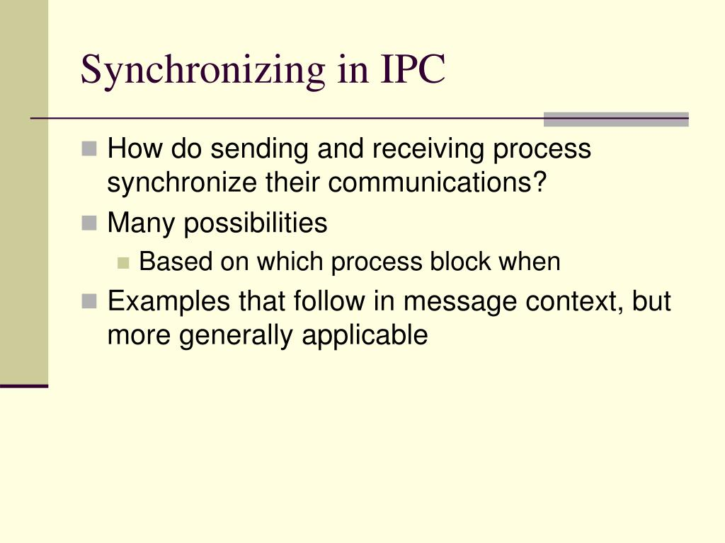 Synchronizing in IPC