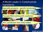 a world leader in carbohydrate ingredients16