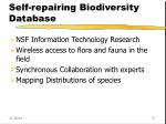 self repairing biodiversity database