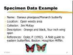 specimen data example