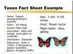 taxon fact sheet example