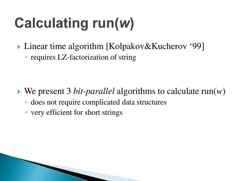 Calculating run(