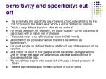 sensitivity and specificity cut off