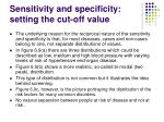 sensitivity and specificity setting the cut off value