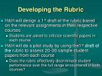 developing the rubric