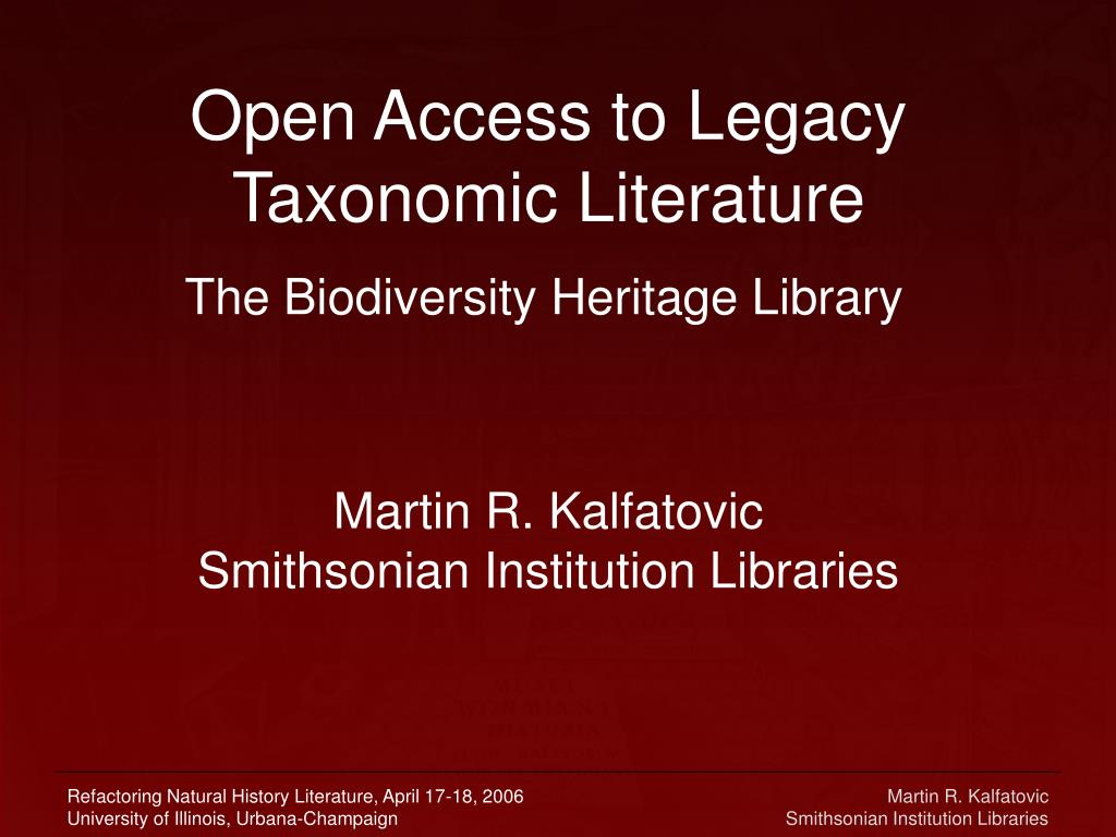 open access to legacy taxonomic literature l.