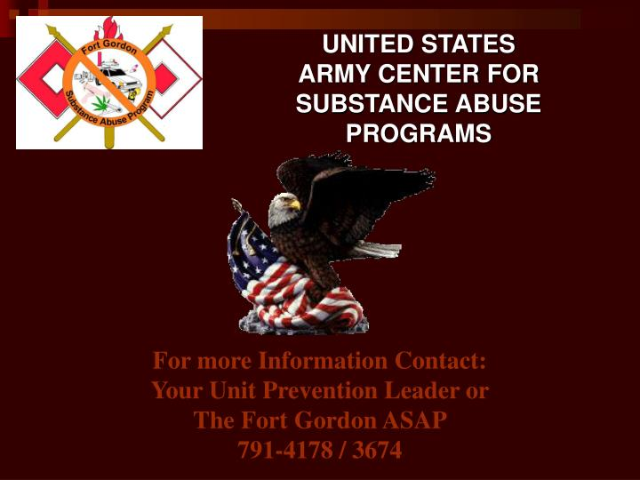 army substance abuse program Mission & overview the army substance abuse program, or asap, is a comprehensive program, which combines prevention education, suicide prevention, urinalysis testing, risk reduction, and civilian employees counseling services.