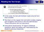 reading the test script