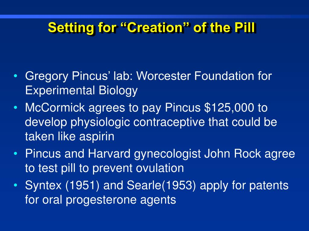 """Setting for """"Creation"""" of the Pill"""