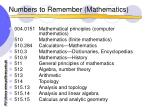 numbers to remember mathematics