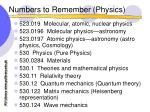 numbers to remember physics