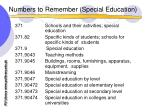 numbers to remember special education