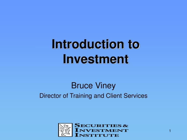 introduction to investment n.