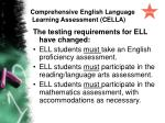 comprehensive english language learning assessment cella