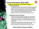 group information sheet gis