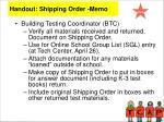handout shipping order memo
