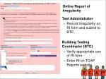 online report of irregularity