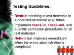 testing guidelines