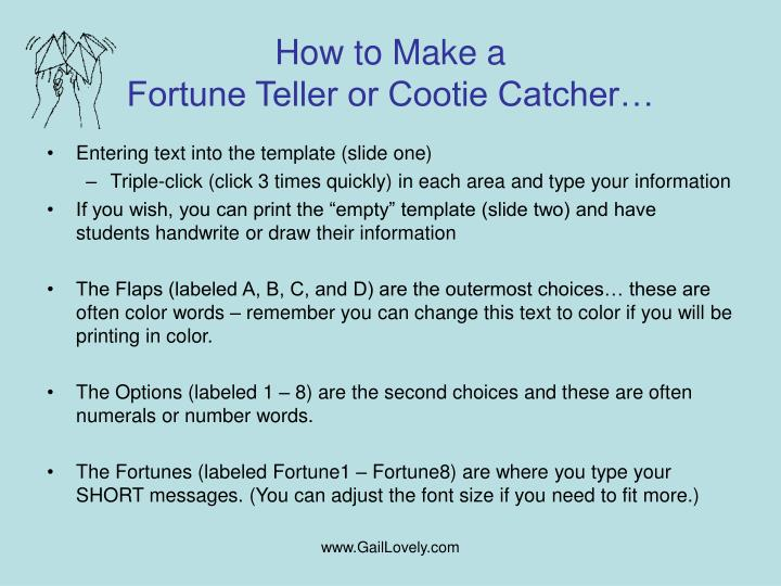 How to make a fortune teller or cootie catcher