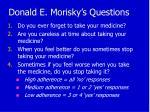 donald e morisky s questions