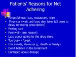 patients reasons for not adhering