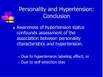 personality and hypertension conclusion