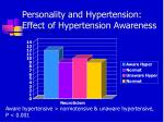 personality and hypertension effect of hypertension awareness