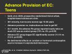 advance provision of ec teens