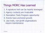 things morc has learned