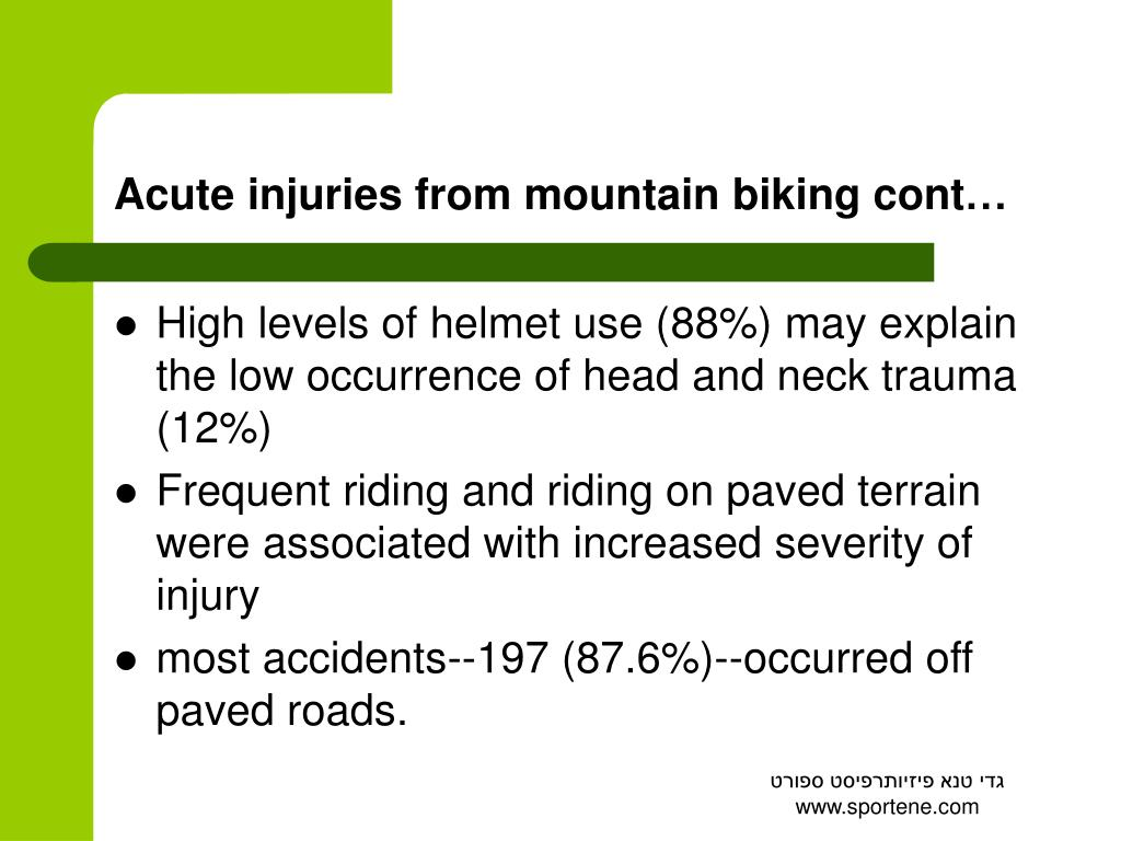 Acute injuries from mountain biking cont…