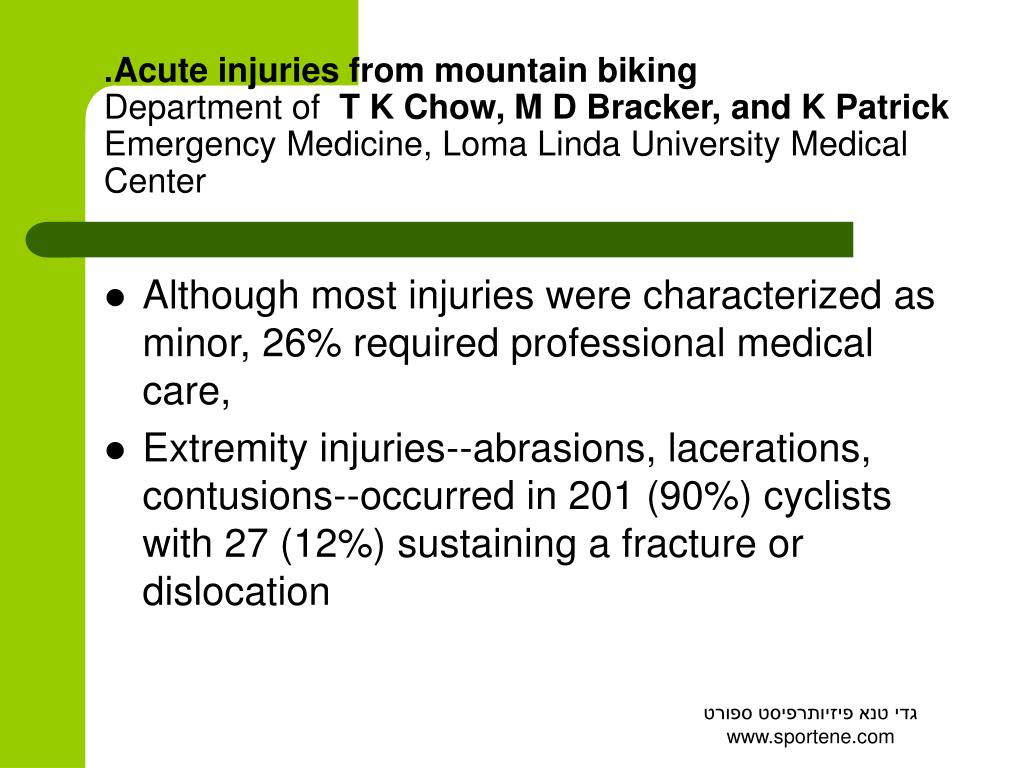 Acute injuries from mountain biking