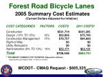 forest road bicycle lanes 2005 summary cost estimates current dollars adjusted for inflation