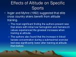 effects of altitude on specific sports