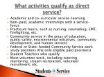 what activities qualify as direct service