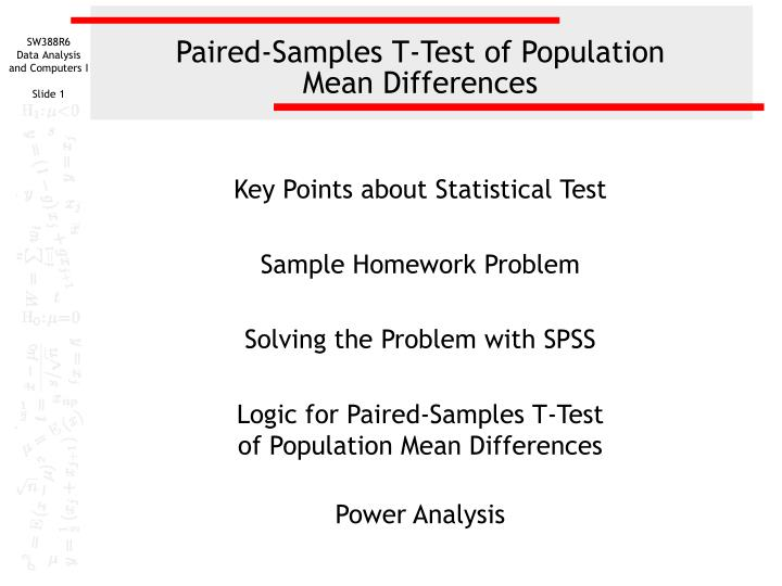 paired samples t test of population mean differences n.