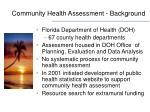 community health assessment background