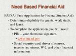 need based financial aid