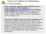 terms conditions for submitting a letter of intent38