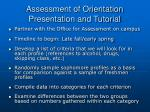assessment of orientation presentation and tutorial