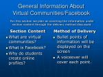 general information about virtual communities facebook