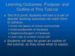 learning outcomes purpose and outline of this tutorial