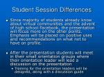 student session differences