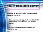 health behaviors survey
