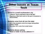 other issues at texas tech